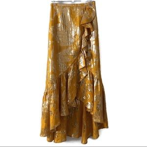 H&M Yellow and Gold Hi Lo Maxi Skirt